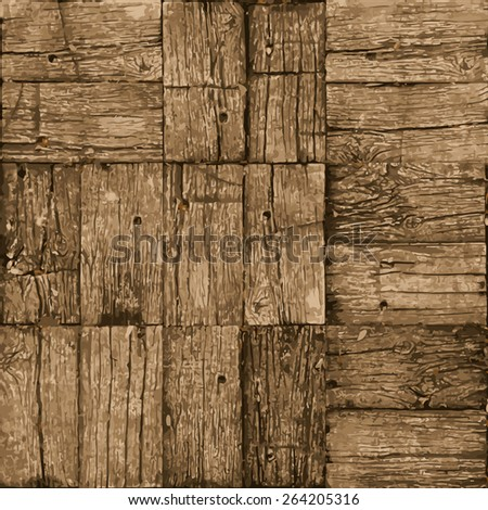 Old parquet floor background - vector realistic grunge element for design in eps8 - stock vector