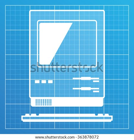 Old pc icon on blueprint paper stock vector 363878072 shutterstock old pc icon on blueprint paper vector illustration malvernweather Image collections
