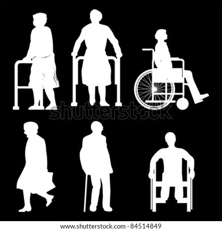 Old people and disabled persons in wheelchair, vector