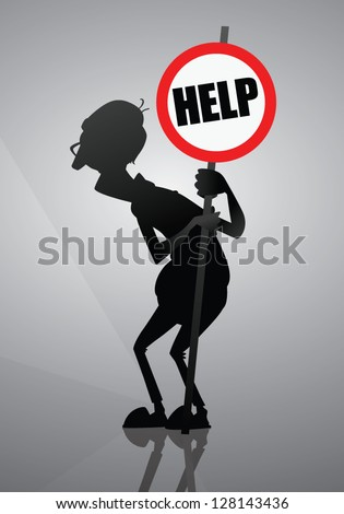 Old people need help. Senior man holding help sign. Old man silhouette in a background. Design for banners, cards or stickers. About helping older people. - stock vector