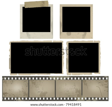 Old photo frames and film strip on white background, vector illustration