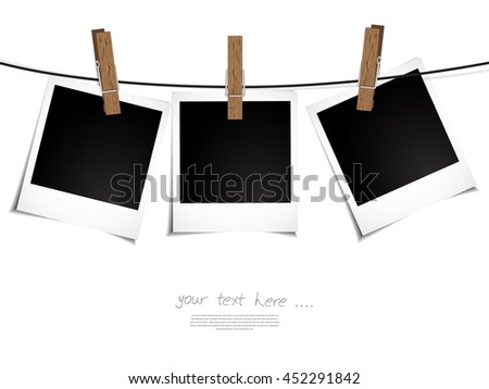 Old Photo Frames fixed by peg on rope, Illustration on white background,