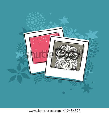 Old photo of cute owl. Vector illustration. - stock vector