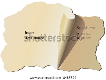 Old piece of torn paper - stock vector