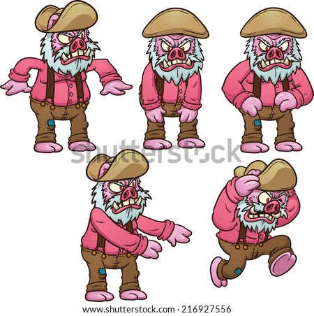 Old pig picking up and throwing something. Hurt image. Vector clip art illustration with simple gradients. Each on a separate layer. - stock vector