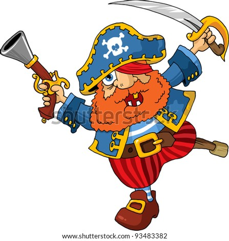 old pirate captain with a shout rushed to board; - stock vector