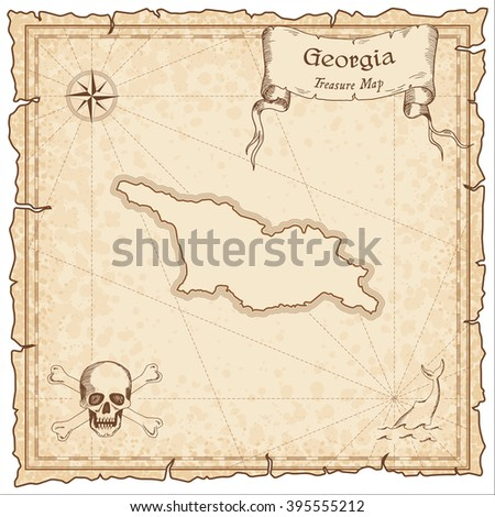 Guana Island Old Pirate Map Sepia Stock Vector - Georgia map template