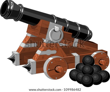 Old pirate ship cannon  and cannon balls - stock vector