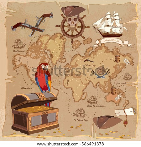 Old Pirate Treasure Map Chest Parrot Steering Wheel Skull Rum Saber Hat And