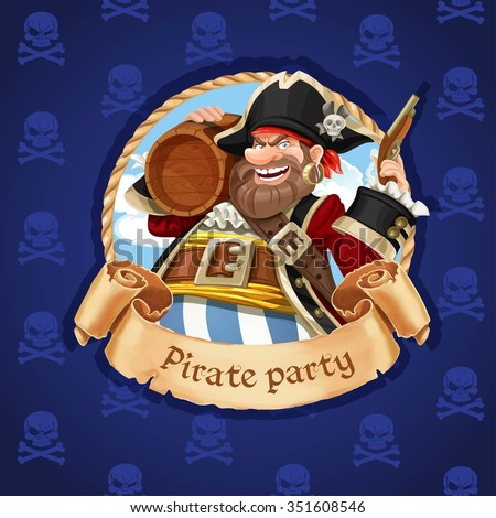 Old pirate with a keg of rum and pistol. Banner for Pirate party - stock vector