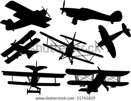 old plane - stock vector
