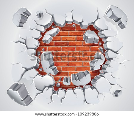 Old Plaster and Red brick wall damage. Vector illustration - stock vector