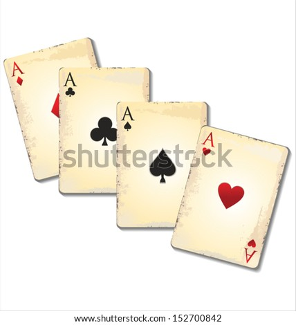 Old playing cards - stock vector