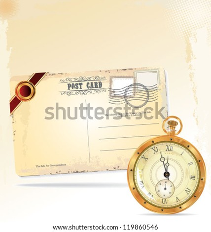 Old pocket watch and retro post card - stock vector