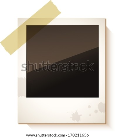 Old Polaroid photo frame isolated on white background. Vector illustration, VECTOR  - stock vector