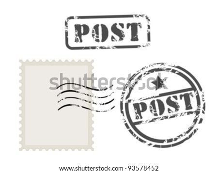 Old post stamp set - stock vector