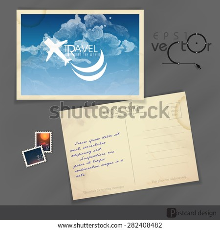 Old Postcard Design, Template. Vector Illustration. Eps 10 - stock vector