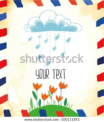 Old Postcard with Tulips - stock vector