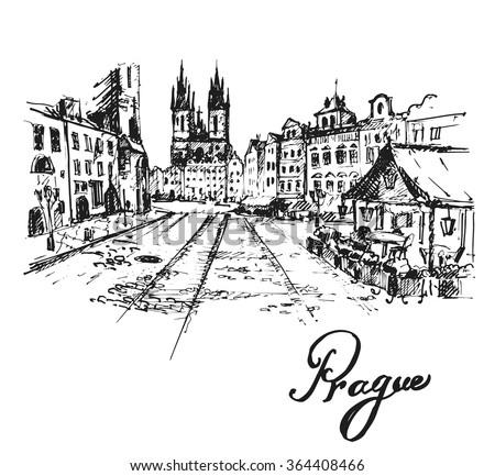 Old Prague view. Czech Republic. Hand drawn sketch, vector illustration.