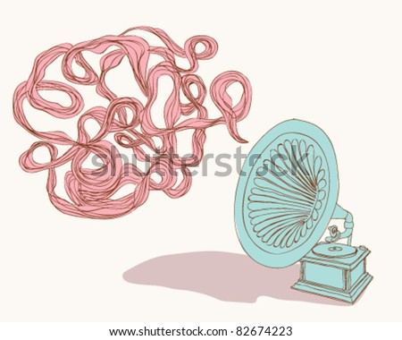 Old record player. - stock vector