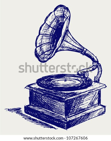 Old record player. Sketch - stock vector
