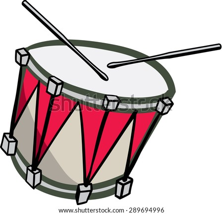 Old red and white drum with drum sticks playing - stock vector