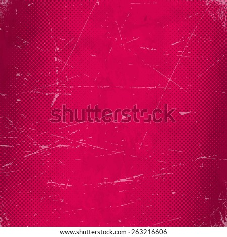 Old red scratched paper card with halftone gradient - stock vector