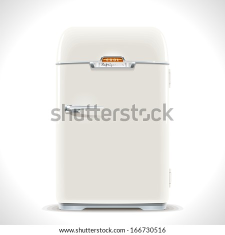 Old Refrigerator. Realistic illustration of an old vintage fridge last century with chrome handle. - stock vector