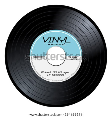 Old, retro blue vinyl record, LP, eps10 vector art image illustration. isolated on white background - stock vector