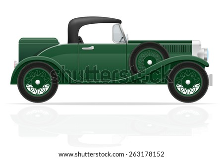 old retro car vector illustration isolated on white background - stock vector