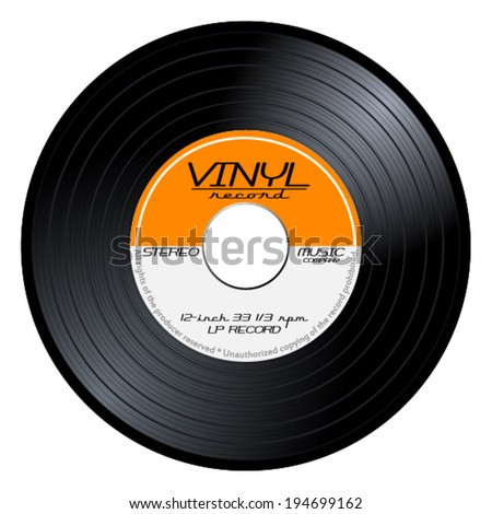 Old, retro orange vinyl record, LP, eps10 vector art image. isolated on white background  - stock vector