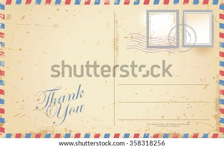 Old retro vintage THANK YOU postcard - stock vector
