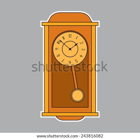 old retro wall clock with pendulum - vector illustration for design - stock vector
