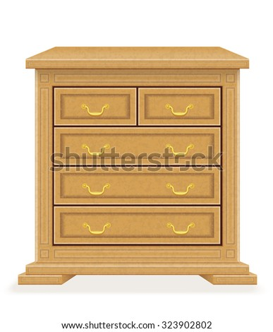 old retro wooden furniture chest of drawers vector illustration isolated on white background
