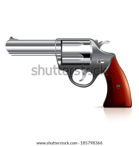Old revolver isolated on white photo-realistic vector illustration - stock vector