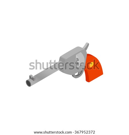 Old revolver isometric 3d icon on a white background - stock vector