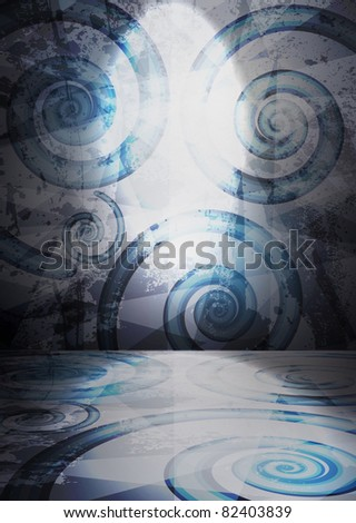 Old room, grunge interior vector background - stock vector