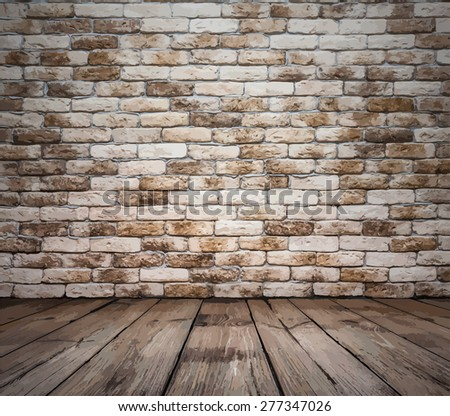 old room with brick wall, vintage background, vector - stock vector