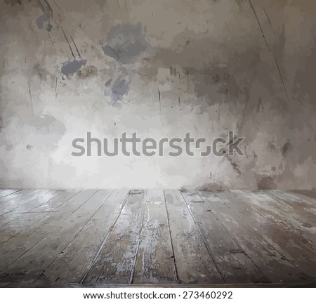 old room with concrete wall and wooden floor, vector - stock vector