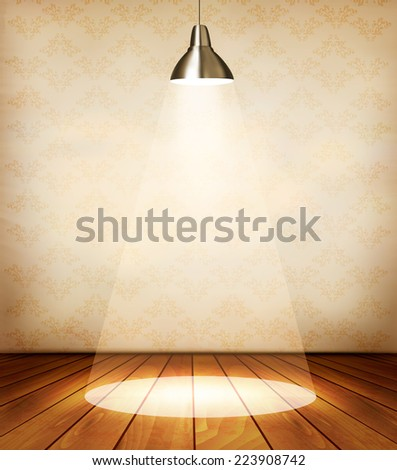 Old room with wooden floor and a spotlight. Vector. - stock vector