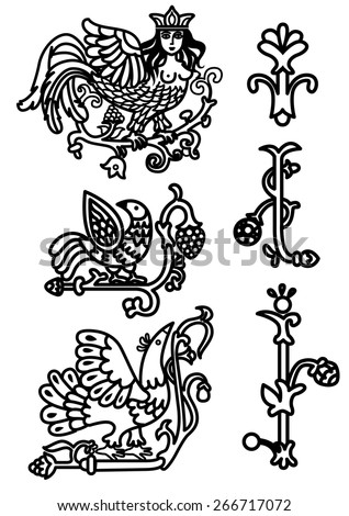 Old russian ornamental set with fantasy birds, flovers and sirin