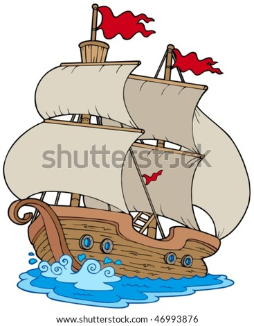Old sailboat on white background - vector illustration. - stock vector