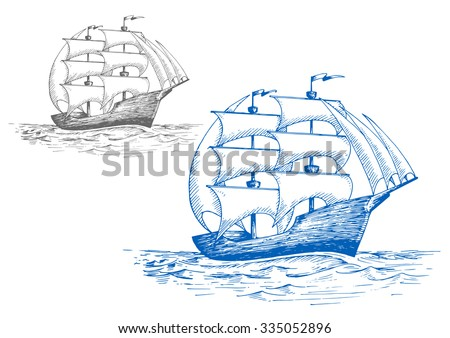 Old sailing brig under full sail on the stormy sea, for marine travel or pirate adventure themes design. Sketch style - stock vector