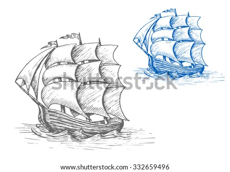Old sailing ship sketch with billowing sails and flags in stormy waves, for marine adventure or nautical design - stock vector