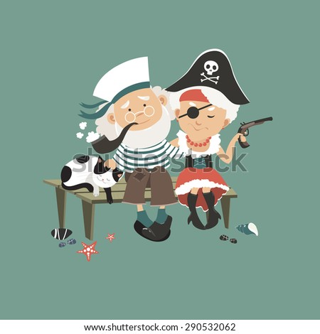 Old sailor sitting on bench with his beloved pirate. Vector illustration - stock vector