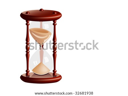 Old sandglass separate on the white background. - stock vector