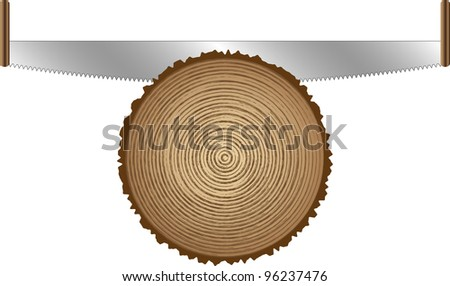 old saws for cutting trees - stock vector