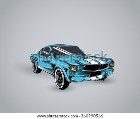 old school car. Muscle car. Print for poster or t-shirt. - stock vector
