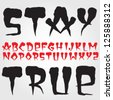Old school hardcore vector font set - stock vector
