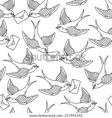 Old school pattern with birds - stock vector